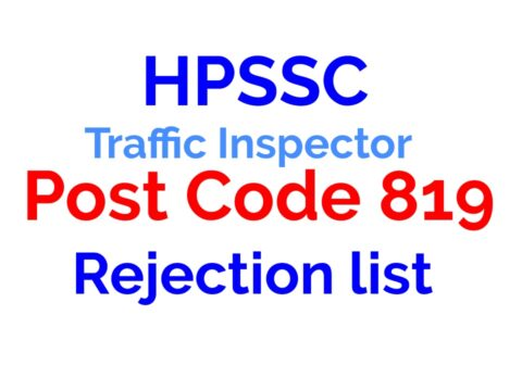 HPSSC Post Code 819 Rejection list 2021