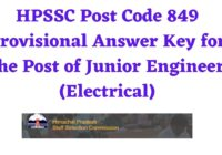 HPSSC Post Code 849 Provisional Answer Key for the Post of Junior Engineer (Electrical)