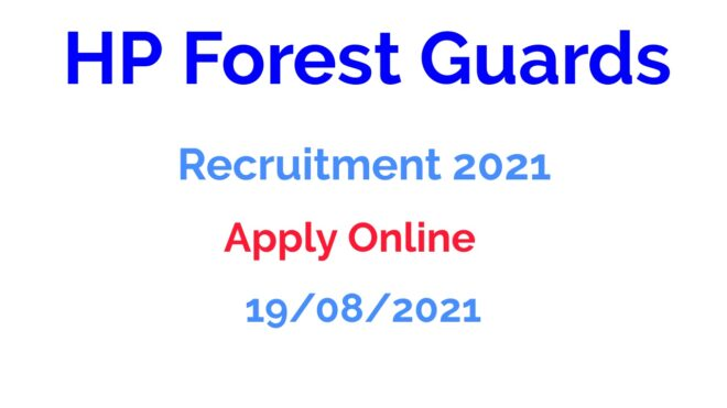 HP Forest Guards Recruitment 2021 Apply Online