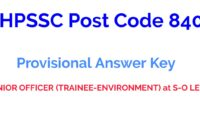HPSSC Post Code 840 Provisional Answer key 2021