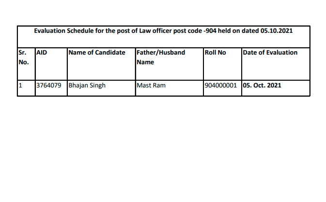 Evaluation Schedule for the post of Law officer post code -904